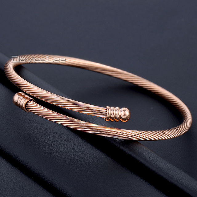 2947422f20758 US $6.19 38% OFF|Davieslee Stainless Steel Twisted Rope Cuff Bangle Rose  Gold Black Gold Tone Elegant Womens Girls Fashioned Bracelet DLKG189-in  Chain ...