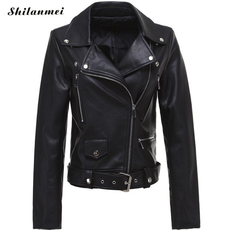 2019 New Fashion Women Autumn Winter Black Faux   Leather   Jackets Zipper Basic Coat Turn-down Collar Biker Jacket With Blet