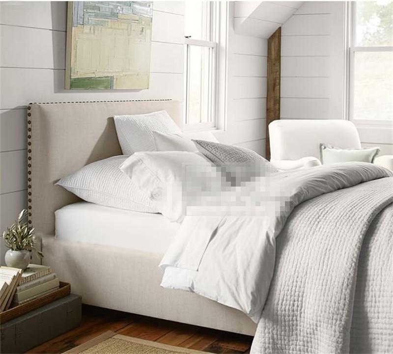 remache de cabecera moderna de tela para dormir suave cama muebles de dormitorio de matrimonio hecho