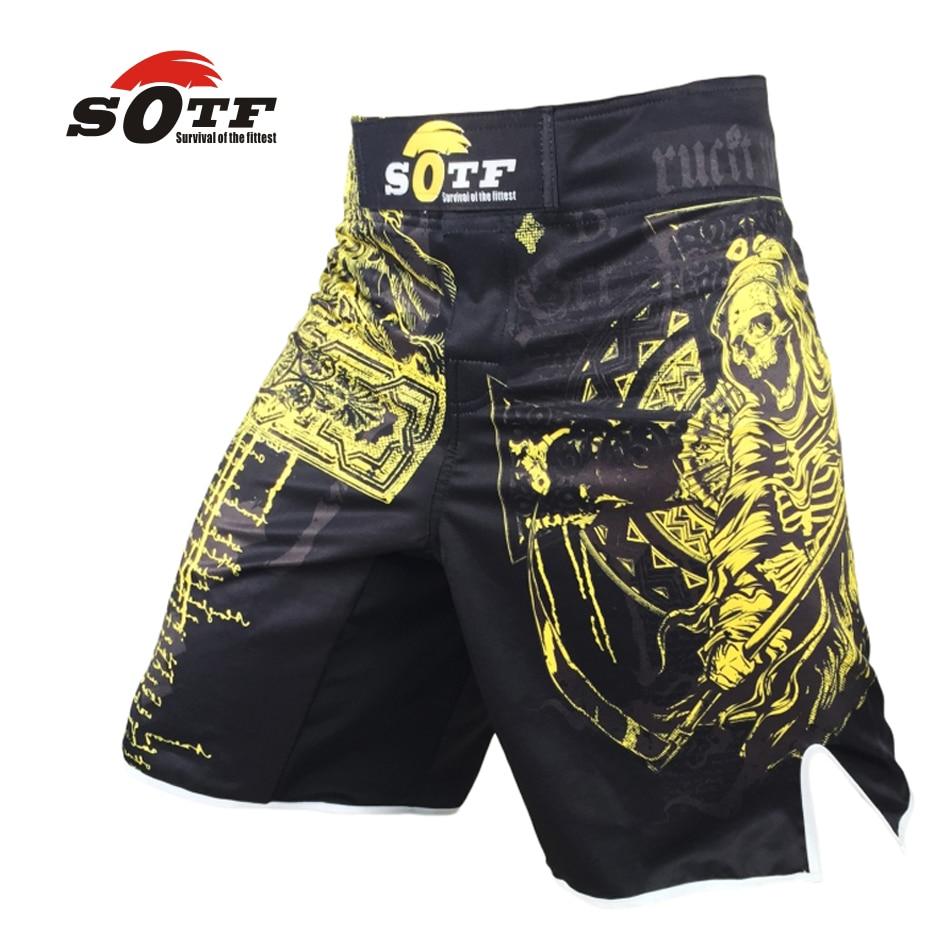 SOTF Jaune dominateur mort respirant coton boxer shorts mma sport formation kickboxing shortsmuay thai boxe thai shorts