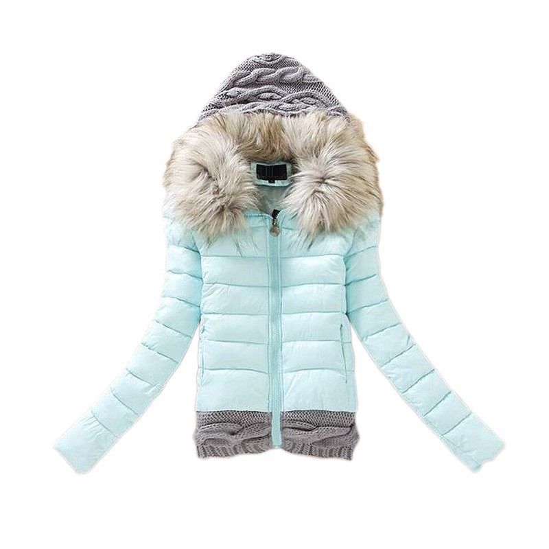 2016 2016 Women Winter Coat Cotton Padded Jacket Short Knitted Hooded Fake Fur Female Warm Wadded Jackets And Coats