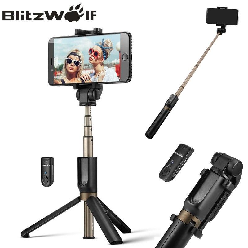 BlitzWolf 3 en 1 inalámbrico Bluetooth Selfie Stick Mini trípode extensible Monopod Universal para el iPhone para Samsung Selfie Stick
