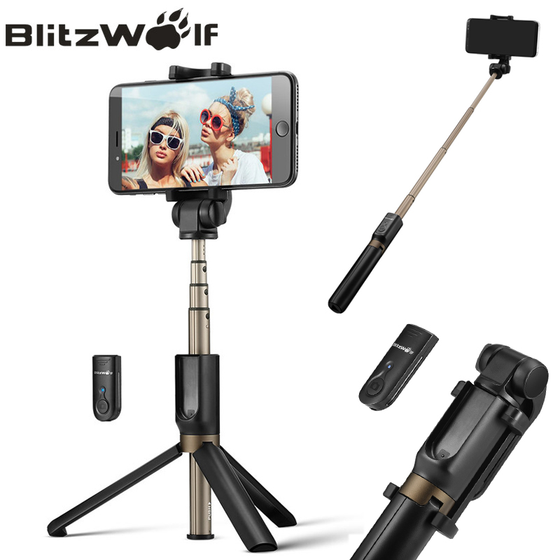 BlitzWolf 3 in 1 Wireless Bluetooth Selfie Stick Tripod Mini Extendable Monopod Universal For iPhone For Samsung Selfie Stick