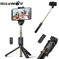 Blitzwolf 3で1ワイヤレスbluetooth selfieスティック三脚ミニ拡張可能一脚ユニバーサル用iphone用サムスンselfieスティッ