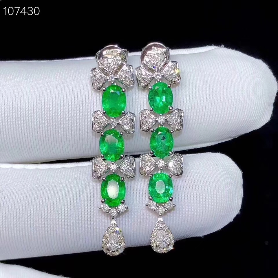 KJJEAXCMY boutique jewelry Supporting detection of 925 pure silver inlaid natural emerald female eardropKJJEAXCMY boutique jewelry Supporting detection of 925 pure silver inlaid natural emerald female eardrop