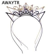 Women Hair Hoops Cat Ear Hairband Cute Girl Crown Tiara Headband Rhinestone Hairband Gold Plated Hair Jewelry for Party Gift
