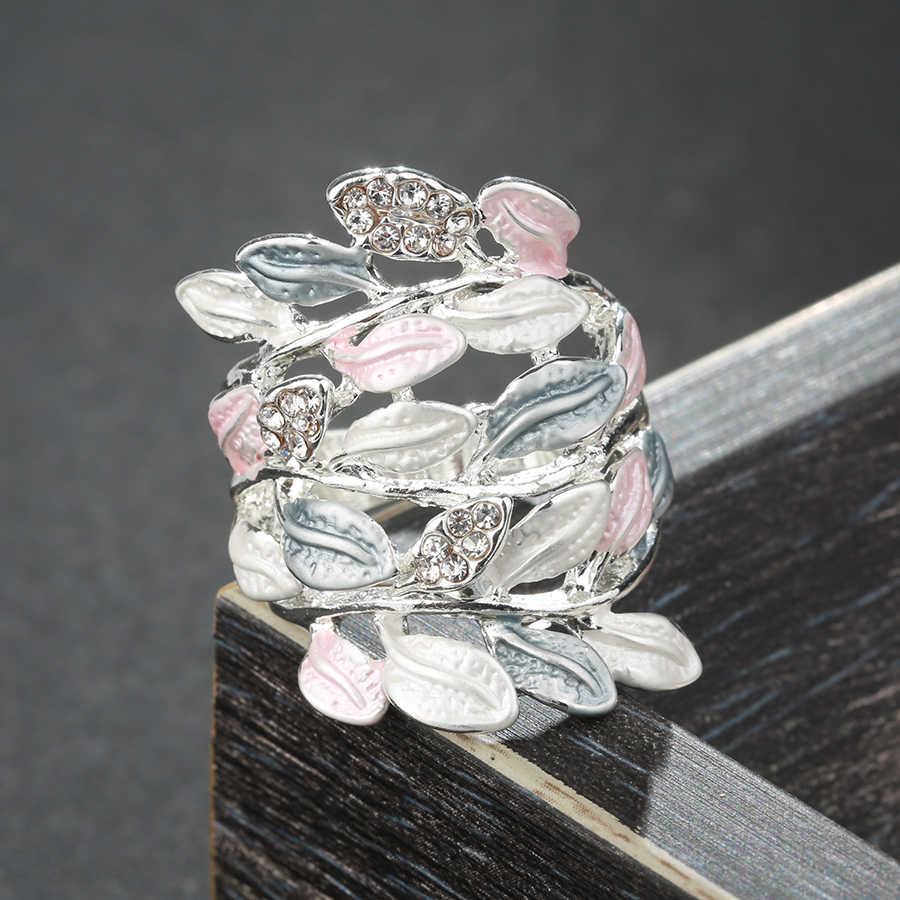 Kinel Lüks Kristal Çiçek Emaye Yüzükler Kadınlar Için Çok katmanlı Yaprakları Gümüş Renk Vintage Alyans Takı Toptan Hediye