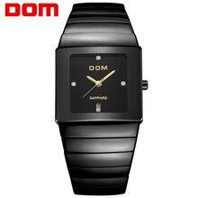 DOM Menmens relojes de primeras marcas de lujo de cuarzo resistente al agua reloj de cerámica de cristal de zafiro de Negocios relojes Cuadrados T-730