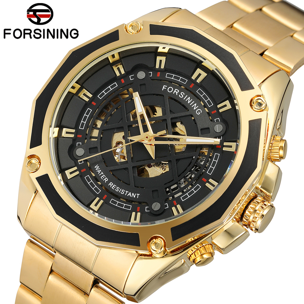 FORSINING Automatic Self-Wind Mechanical Watches For Men Gold Stainless steel Skeleton Watch Top Brand Luxury Male Clock forsining top luxury brand watch men mechanical automatic army military skeleton male wrist watches steel strap fashion clock