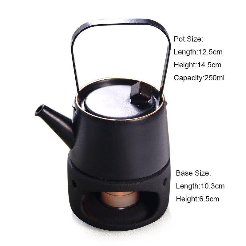 Style japonais Vintage en céramique noire bougie chauffe-plat théière chauffe-plat Base bouilloire thé cérémonie accessoires thé ensemble - 4