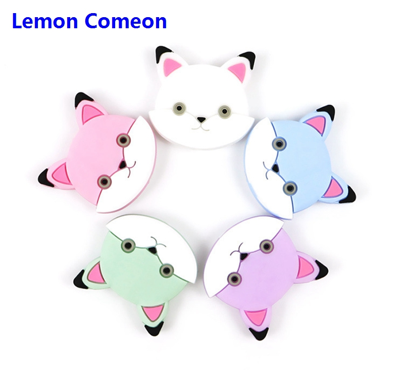 Lemon Comeon 5pc Silicone Monkey Teether Beads Diy Cat Baby Shower Animal Chewing Pacifier Dummy Sensory Toy Accessories 2 Style