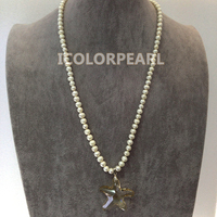 WEICOLOR 60cm Lovely Children's Jewelry! 7mm White Natural Freshwater Pearl Necklace With Starfish Champagne Crystal Pendant !