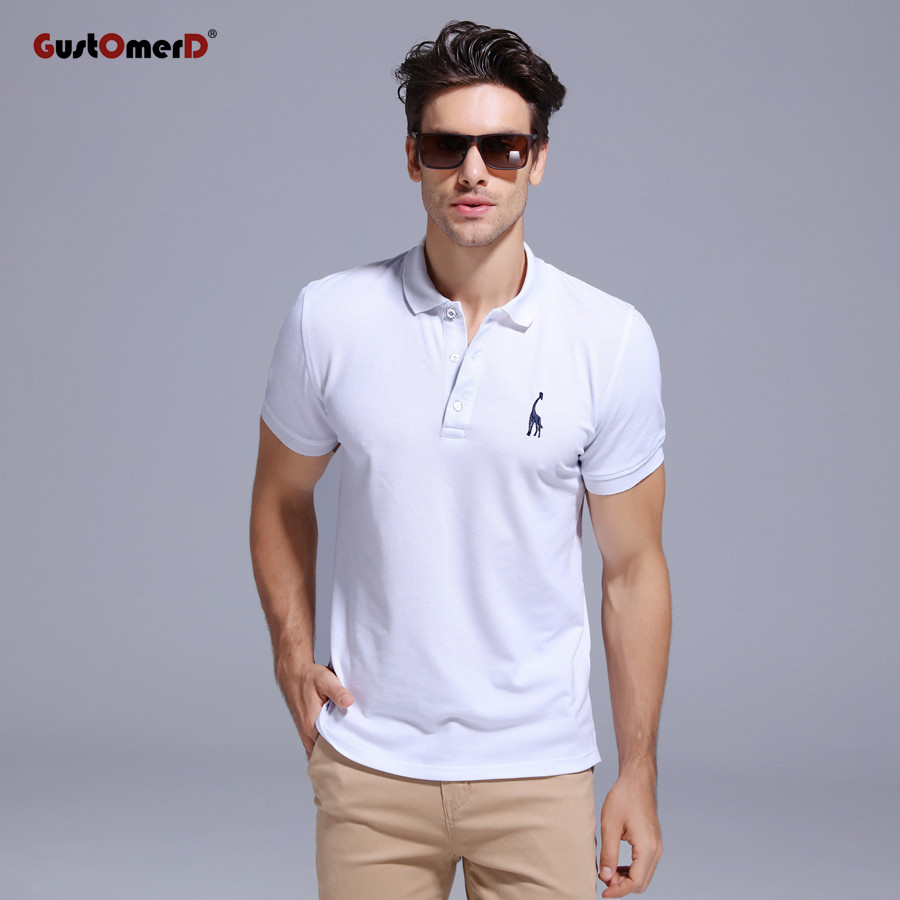 GustOmerD Brand New Man   Polo   Shirt Mens Casual white Deer Embroidery Cotton   Polo   shirt Men Short Sleeve breathable   polo   men