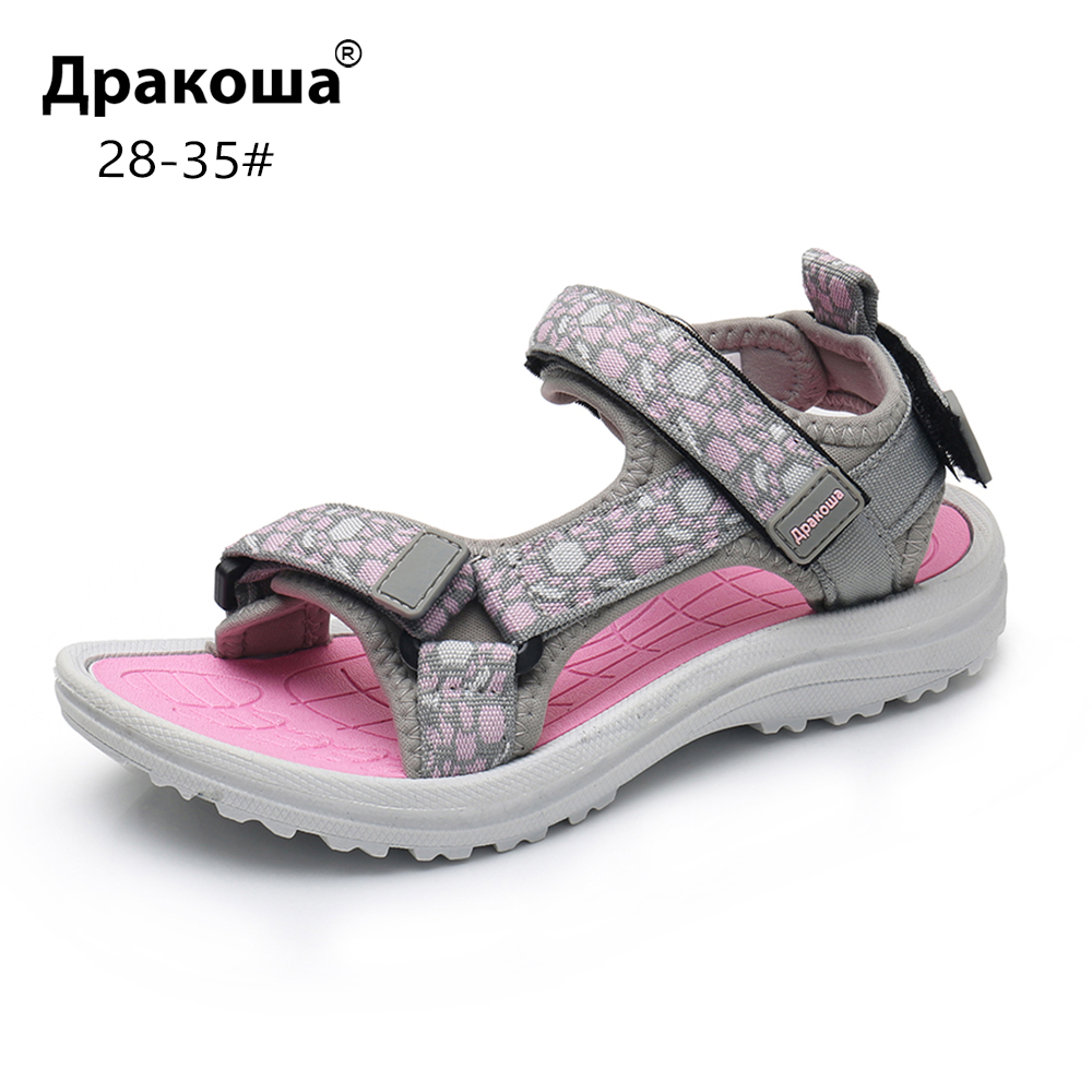 Apakowa Girls Summer Open Toe Hook And Loop Beach Walking Sports Sandals Child Washable Quick Dry Slingback Water Sandal Shoes