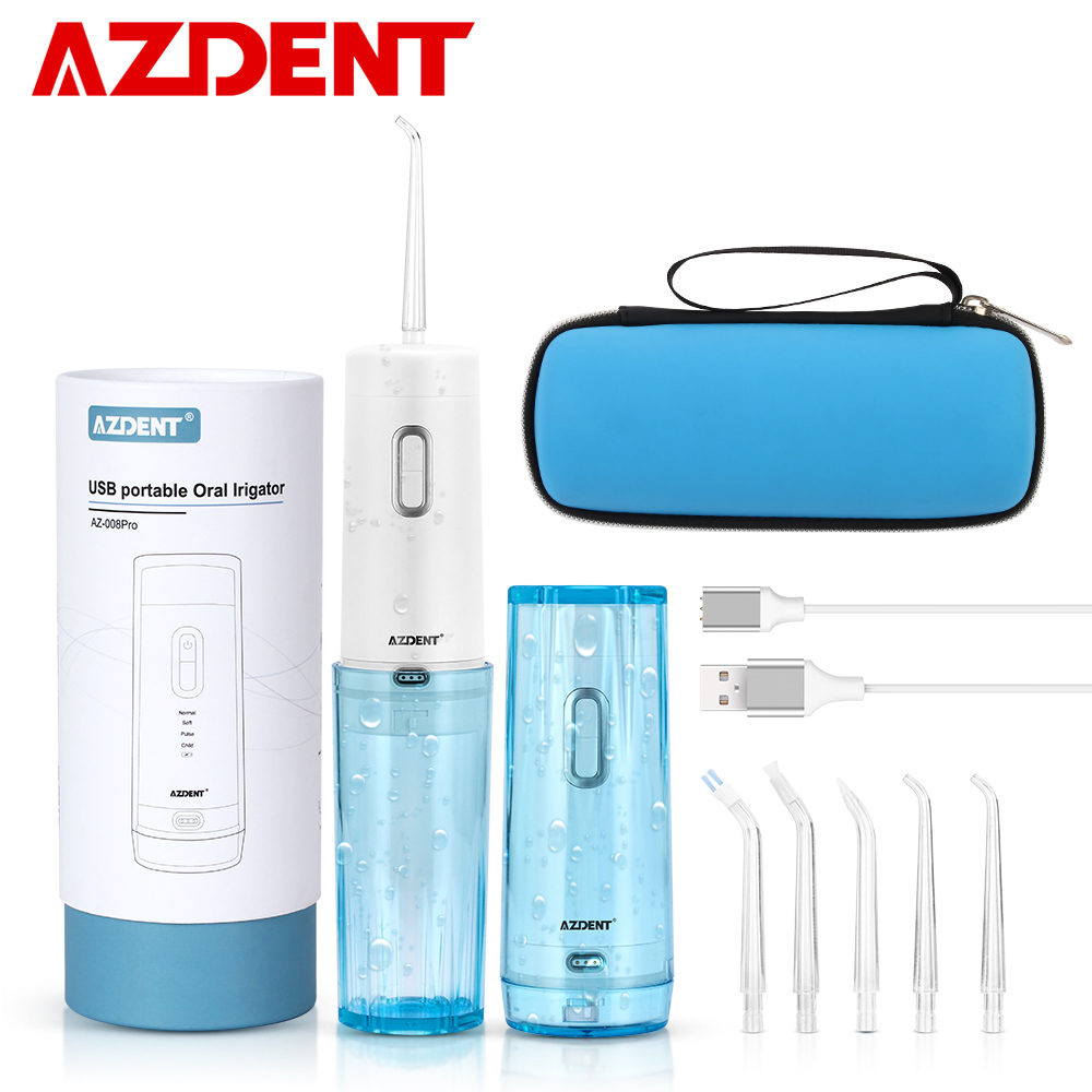 Smart Portable Dental Flosser + Travel Case Cordless Oral Irrigator USB Charging Water Jet Floss Tooth Pick 4 Modes 210ML 5 Tips