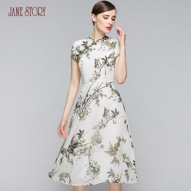 Jane Story Summer Dress Chinese Style Vintage BamBoo Print Women Dress  Stand Neck Elegant Silk Like White Office Dress Slim 88ac6ffd0