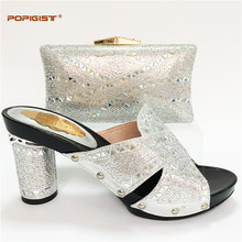 Customized Handmade sliver color with Rhinestones Shoes and Bag Matching  Set Bridal Wedding Shoes Women Shoes d331a11f4642