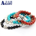 Ailatu 10pcs/lot Hot Sale Exquisite Buddha Bracelets With Natural Red, Black Agate, Yellow Tiger Eye, White and Turqoise Stone