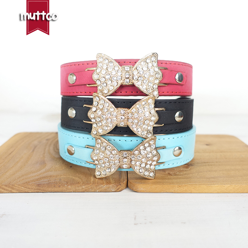 10pcs/lot wholesale modern personality wear comfortable strong soft suede dog collars with a gold shiny bow 3 sizes CM013P