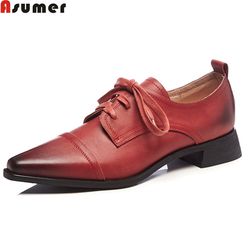 ASUMER black wine red fashion spring autumn shoes woman pointed toe lace up square heel med heels women genuine leather shoes asumer black white fashion spring autumn ladies single shoes pointed toe square heel women genuine leather med heels shoes