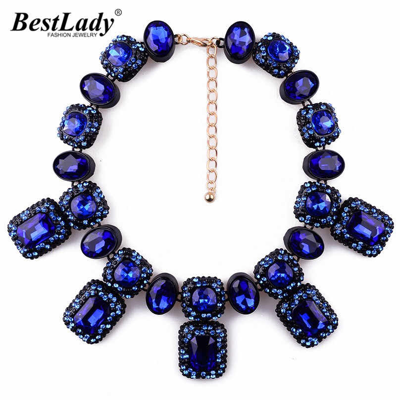 Best lady Gem Crystal  Fashion Vintage  Personality Design Necklaces & Pendants Statement Collar Choker Necklace For WomenB225