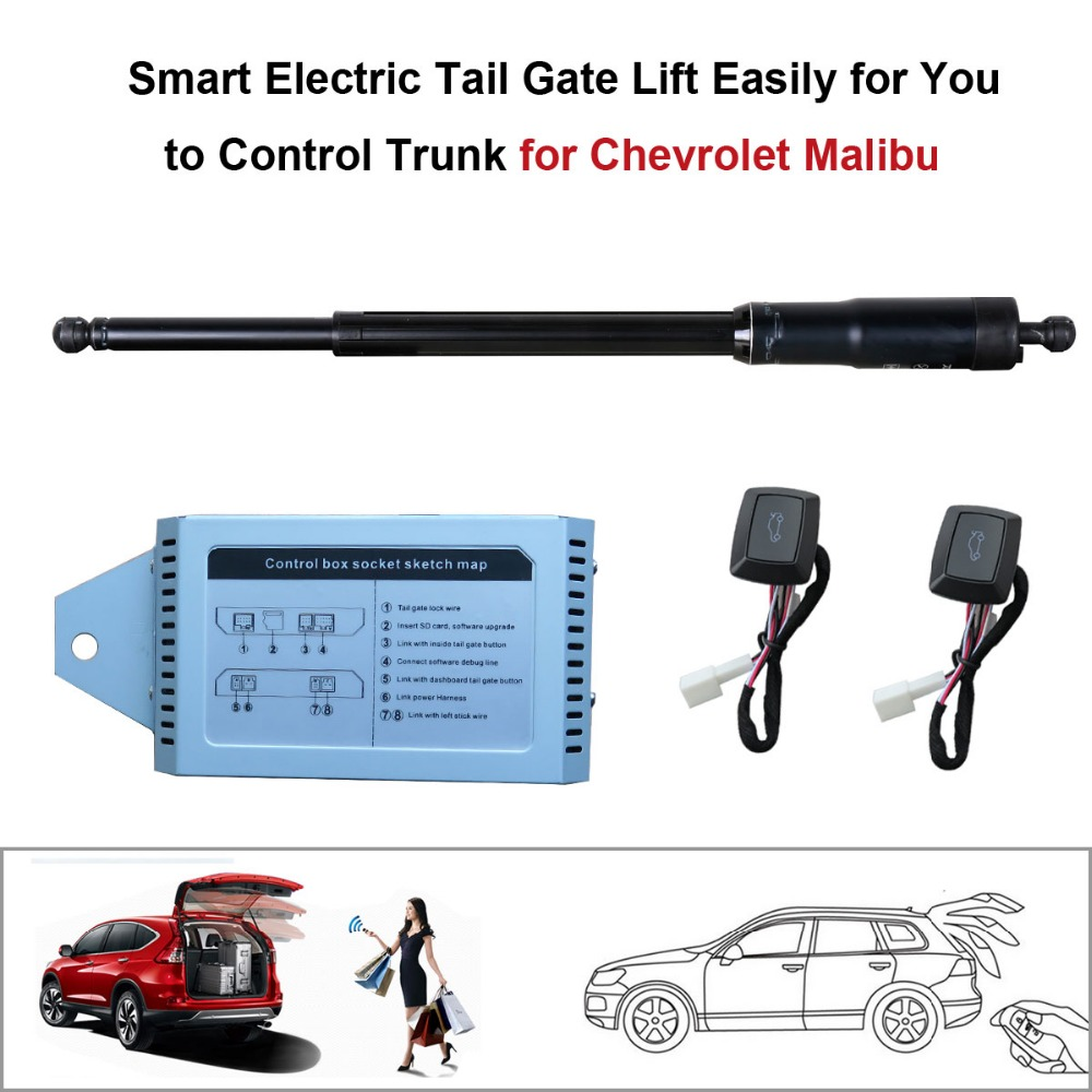Smart auto electric tail gate lift for chevrolet malibu control by remote drive seat tail gate button set height avoid pinch