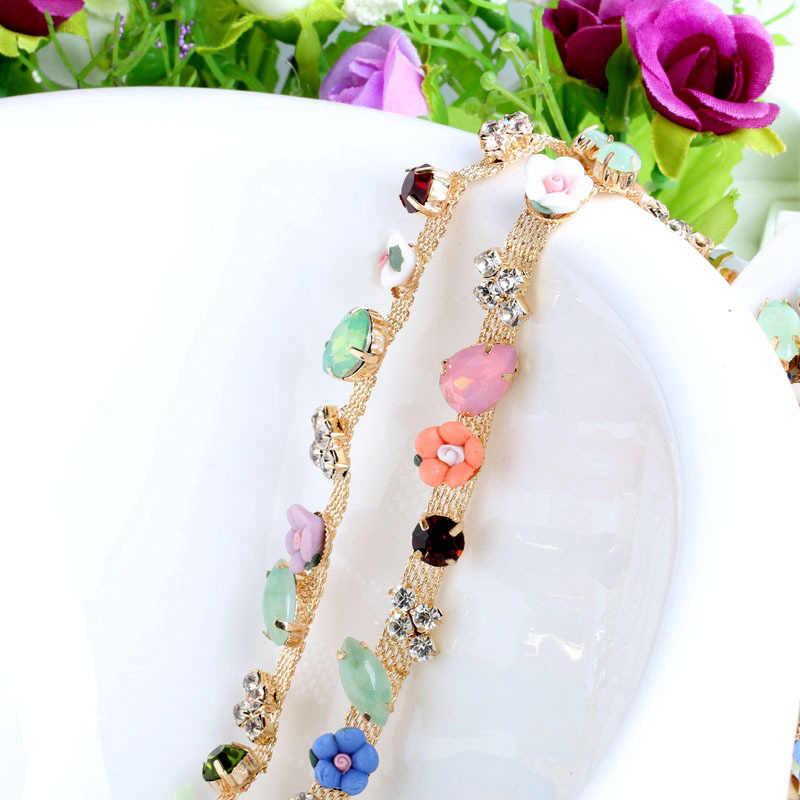 Prajna 1 Yard cristal coudre sur strass coupe chaîne garniture en métal griffe couture fleur strass coupe pour vêtement robe