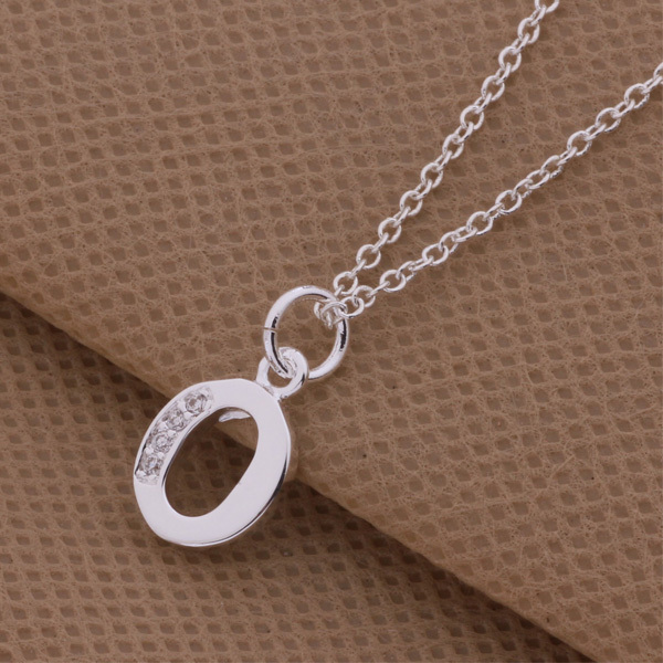 Letter O P Q S top quality silver pendant necklace with zircon beautiful party jewelry Surprise Christmas gift hot