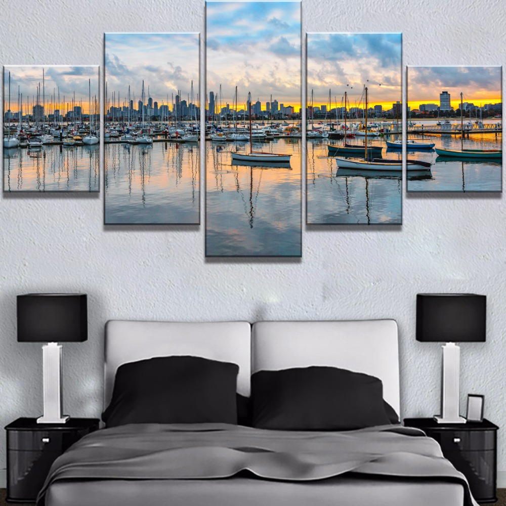 5 Piece Canvas Art Ship Waterfront Skyline Cuadros Decoracion Paintings on Canvas Wall Art for Home Decorations Wall Decor image