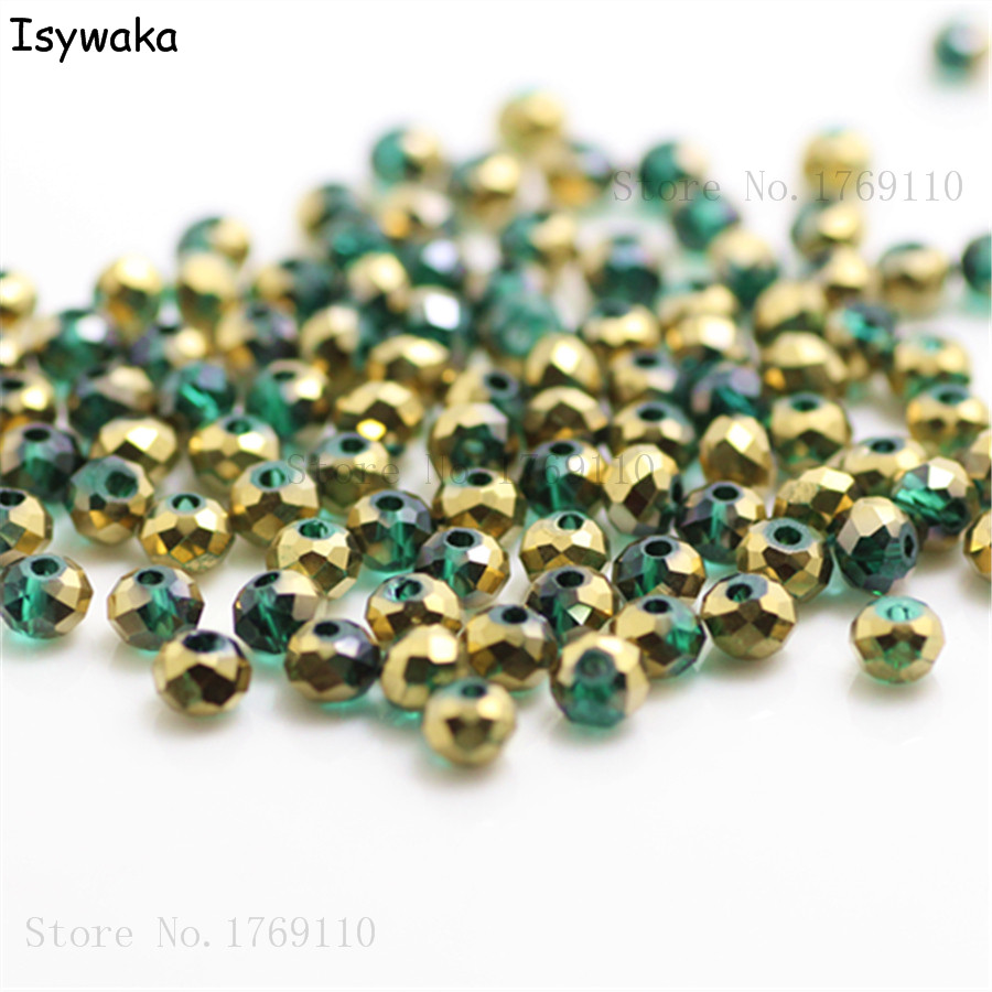 Jewelry & Accessories 100% Quality Isywaka Green Golden Colors 4mm 145pcs Rondelle Austria Crystal Glass Beads Loose Faceted Round Beads Jewelry Making Beads & Jewelry Making