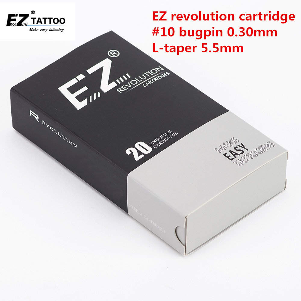 EZ Revolution Tattoo Needles Cartridge Needle Round Liners  #10 0.30mm L-taper 5.5mm For Cartridge Machine And Grips 20 Pcs /box