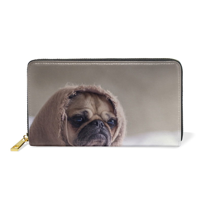 Cute Pug Dog Genuine Leather Wallets Female Zipper Purse Money Clips Boys Casual Wallet Pugs Long Purse Coin For Teenager Girls