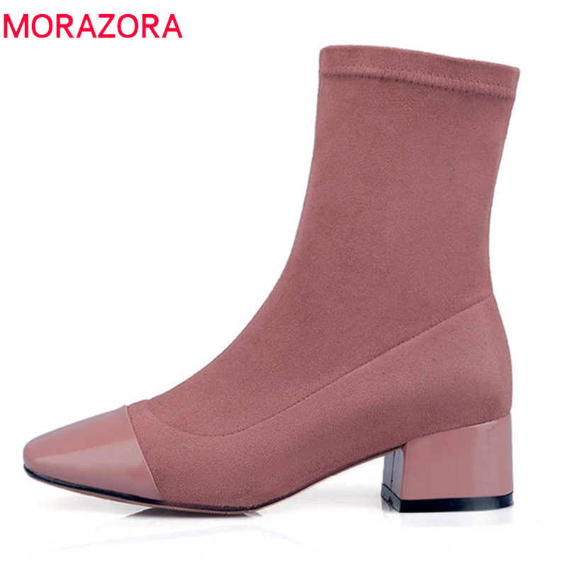 MORAZORA 2018 genuine leather ankle boots women simple zipper fashion autumn winter boots female elegant high heels dress shoesMORAZORA 2018 genuine leather ankle boots women simple zipper fashion autumn winter boots female elegant high heels dress shoes
