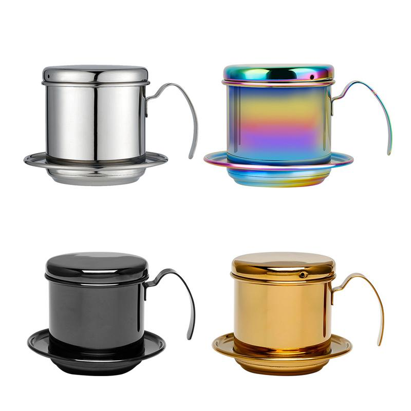 1set Portable Stainless Steel Coffee Drip Filter Coffee Maker Infuser Vietnam Style Coffee Mug Cup Strainer Coffee Tools 40