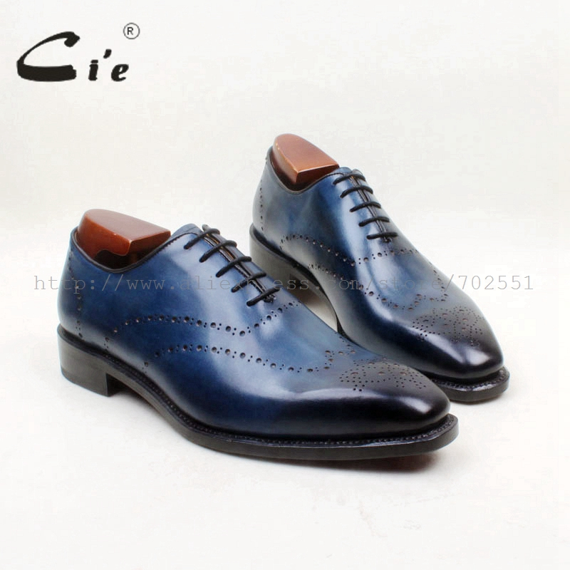 cie Square Toe Whole Cut Bespoke Handmade Full Brogues Custom Calf Leather Outsole Breathable Men's Shoe Oxford Color NavyOX706
