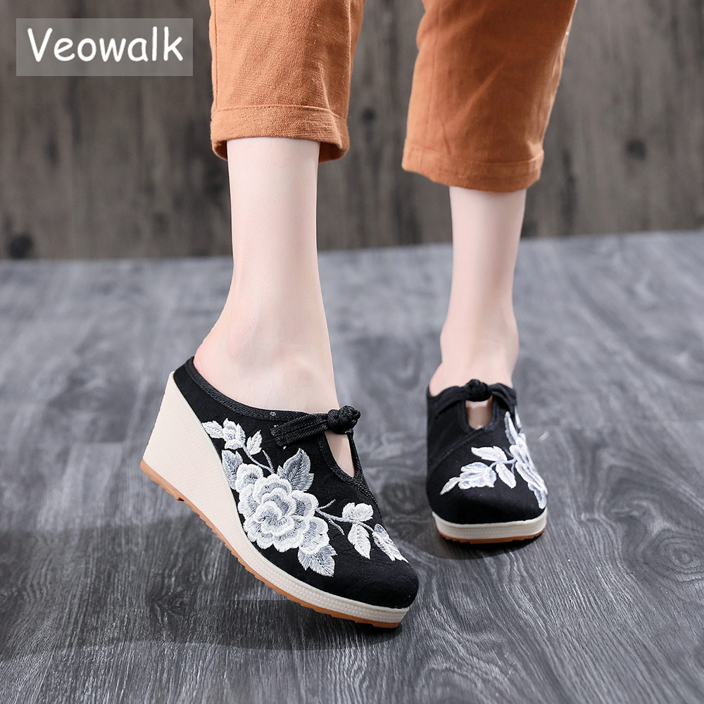 Veowalk Vintage Flowers Embroidered Women's Canvas Mules Slippers Wedge High Heel Ladies Comfort Embroidery Shoes Platforms