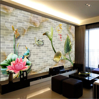 Beibehang Customize Any Size Wallpaper Fresco Photos Colorful Romantic Pattern Living Room Jade Carving 3D Lotus