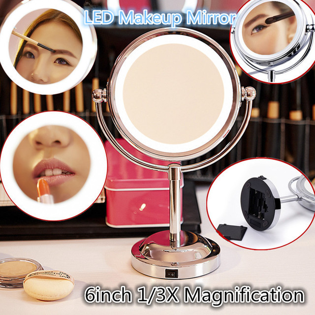 6 Pulgadas 1/Magnificate 3X Led Espejo de Maquillaje Doble Cara Acabado Cromado de Acero Inoxidable con Soporte
