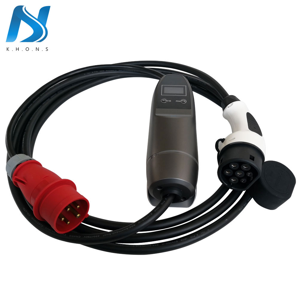 Khons EVSE Type 2 Electric Vehicle Car EV Charger With Red CEE Plug 16A Adjustable 16ft Cable EV Portable Charging Connector