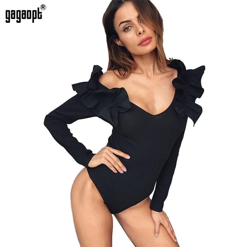 Gagaopt 2018 Summer Overalls Women Bodysuit V Neck Stitching Lotus Long Sleeve Bodysuits Slim   Jumpsuit   Combinaison Femme