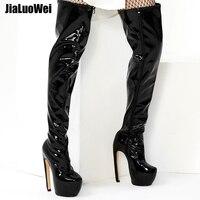 Jialuowei/сапоги на платформе и высоком каблуке 18 см, необычный дизайн, ботфорты на молнии с круглым носком, размер 36 46