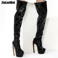jialuowei 18CM High Heel Platform Boots Curve Heels Strange Design Round Toe Zipper Over the Knee Thigh High Boots Size 36 46