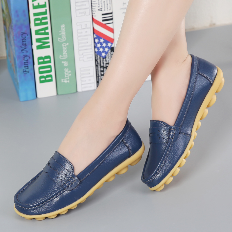 MIUBU New Women Real Leather Shoes Moccasins Mother Loafers Soft Leisure Flats Female Driving Casual Footwear Size 35 44 in Women 39 s Flats from Shoes