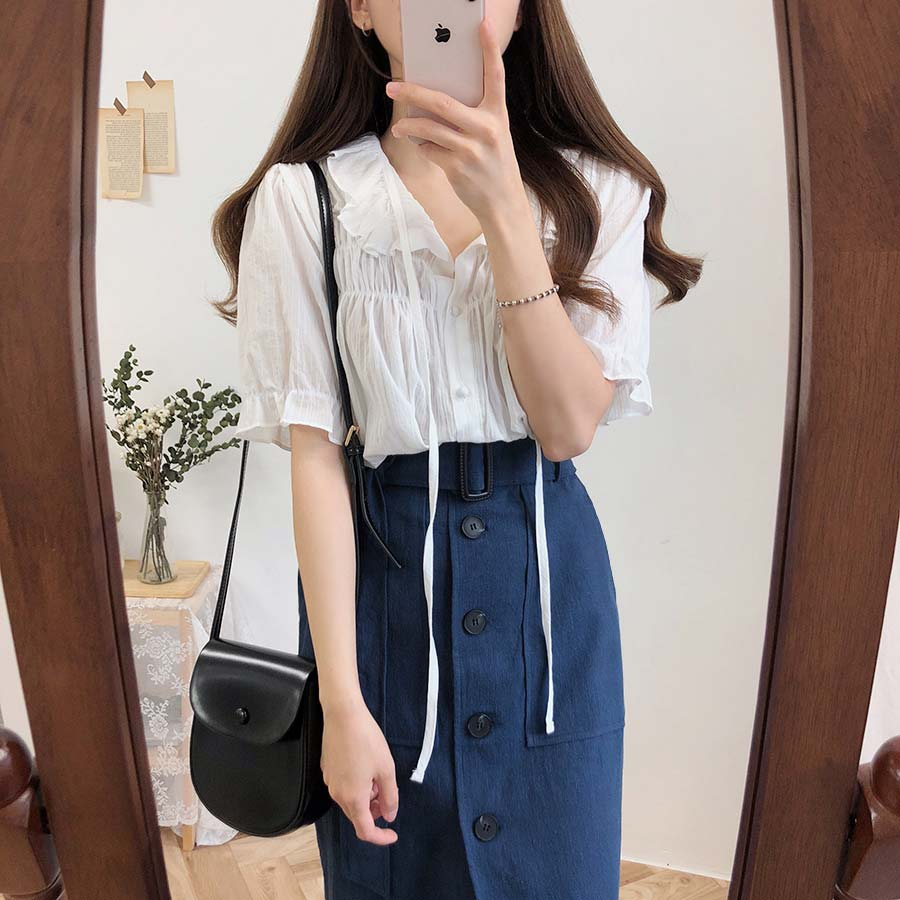 new white shirt Vintage Women Short sleeve Tops Linen Cotton Girls Blouse Plus Size Summer Women Blouses femme  Female Blusas(China)