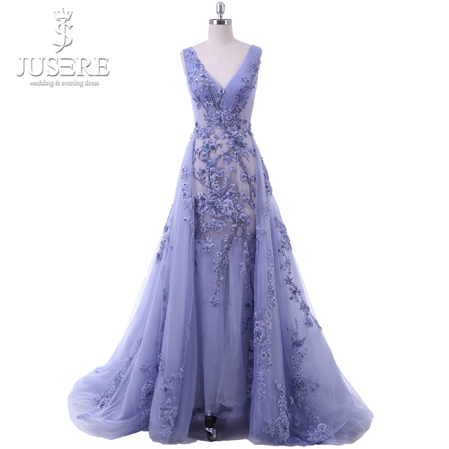 Robe De Soiree 3D Flower Lace Beading Sexy Backless Long   Evening     Dress   Bride Banquet Elegant Two in One Party Formal   Dress   2018