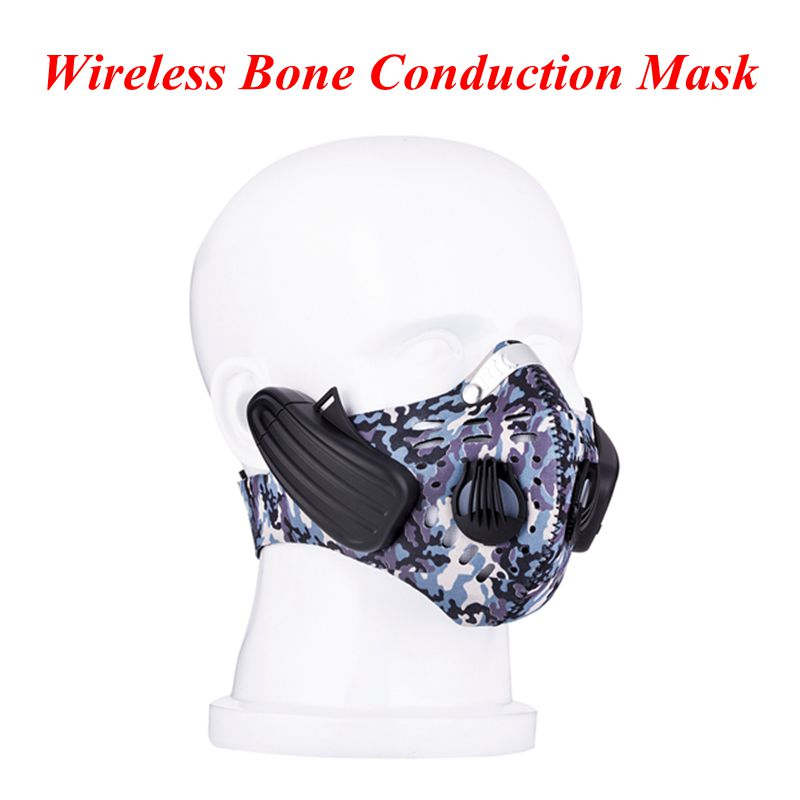 Newest face Mask Wireless Bluetooth Earphonse Anti Dust Stereo Music Headphone Handfree Bone Conduction headsets with mic 50pcs high quality dust fog haze oversized breathing valve loop tape anti dust face surgical masks