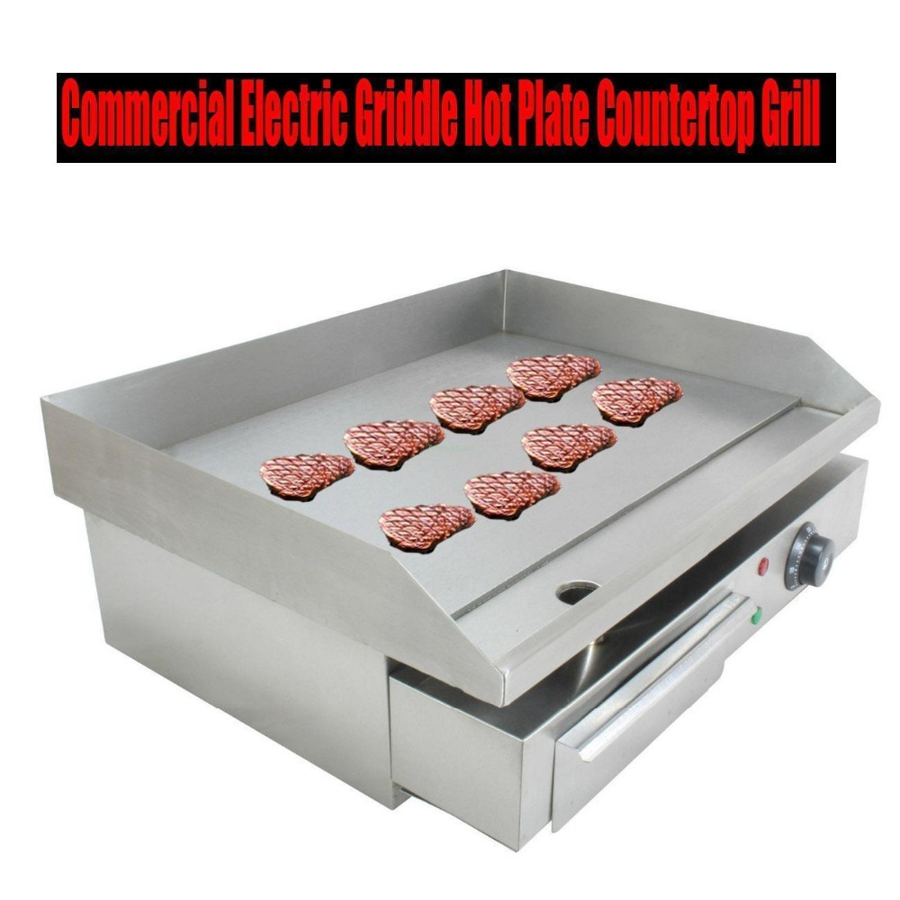 3000W Electric Griddle Chop Hot Plate 55cm Commercial Countertop Grillplatte BBQ EU Plug