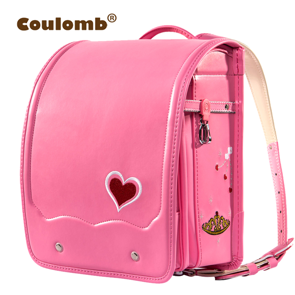 Coulomb Children Orthopedic Backpack For Girl School Bag PU Leather LOVE Red Princess Baby Book Bags Kids Backpacks New
