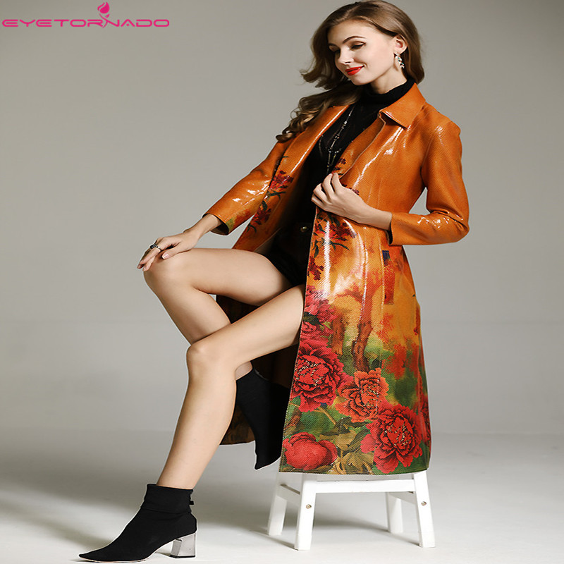 2019 High End Women autumn winter floral print vintage faux leather suede   trench   coat slim elegant belted casual work   trench
