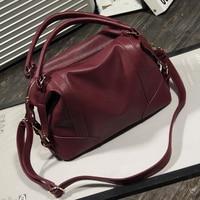 Loshaka Women Fashion Soft PU Leather Handbag Lichi Pattern Female Casual Solid Boston Shoulder Bag Classic